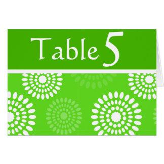 Tarjeta verde del número de la tabla de las flores