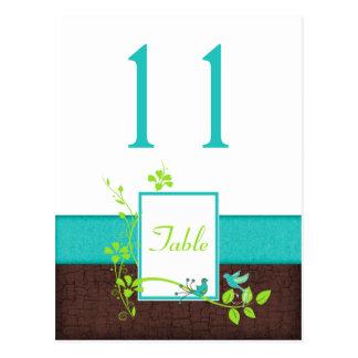 Tarjeta verde del número de la tabla de los pájaro tarjeta postal