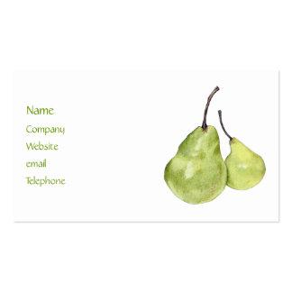 Tarjeta verde del perfil de dos peras