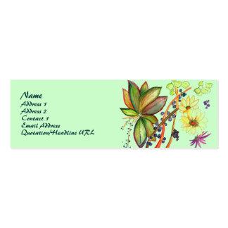 Tarjeta verde del perfil de la flor 71 tarjetas personales