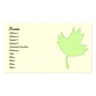 Tarjeta verde del perfil de la hoja de arce tarjetas de visita
