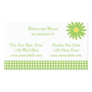 Tarjeta verde del registro de la ducha de la tarjetas de visita