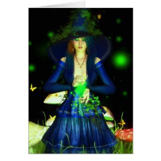 Tarjeta verde del saludo/de nota de Magick