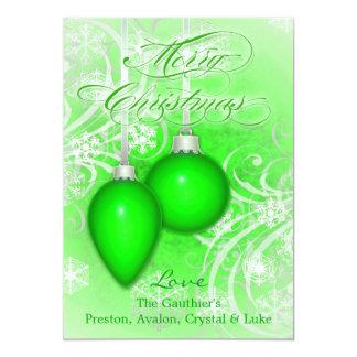 Tarjeta verde helada de las vacaciones de invierno invitaciones personales