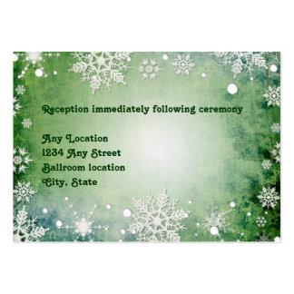 Tarjeta verde hivernal de la recepción nupcial tarjetas de visita grandes