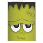 Tarjeta verde linda fantasmagórica de Halloween de