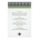 Tarjeta verde, negra, blanca del menú del damasco