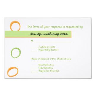"""Tarjeta verde pintada de RSVP de los círculos que Invitación 3.5"""" X 5"""""""
