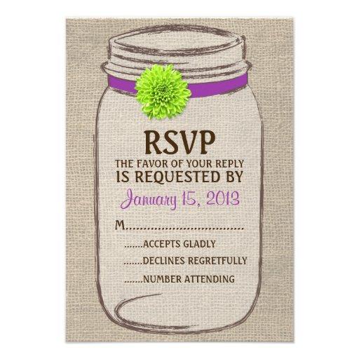 Tarjeta verde púrpura de RSVP de albañil rústico d Invitaciones Personales
