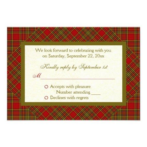 Tarjeta verde roja de RSVP de la tela escocesa del Invitacion Personal