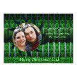 Tarjeta verde y azul de la foto del navidad del invitacion personalizada