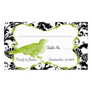 Tarjeta verde y negra del pájaro del vintage del tarjetas de visita
