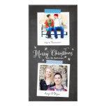 Tarjeta vertical de la foto de la cinta y de la tarjetas fotograficas