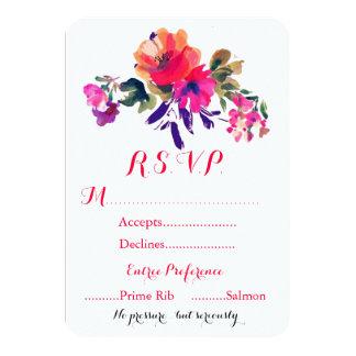 Tarjeta vibrante de RSVP de la acuarela Invitación 8,9 X 12,7 Cm