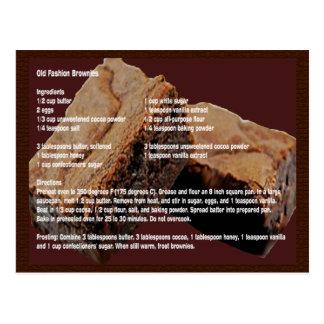 Tarjeta vieja de la receta de los brownie de la postal