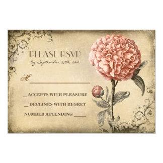 tarjeta vieja de RSVP que se casa con la floración Invitaciones Personales