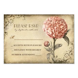"""tarjeta vieja de RSVP que se casa con la floración Invitación 3.5"""" X 5"""""""