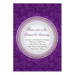 Tarjeta violeta barroca de la recepción nupcial de plantilla de tarjeta de visita