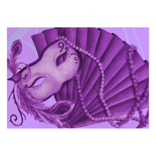 Tarjeta violeta de la respuesta de la mascarada plantillas de tarjetas de visita