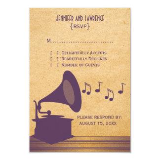 Tarjeta violeta de la respuesta del gramófono del invitación 8,9 x 12,7 cm