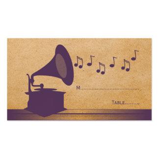Tarjeta violeta del lugar del gramófono del vintag tarjetas personales