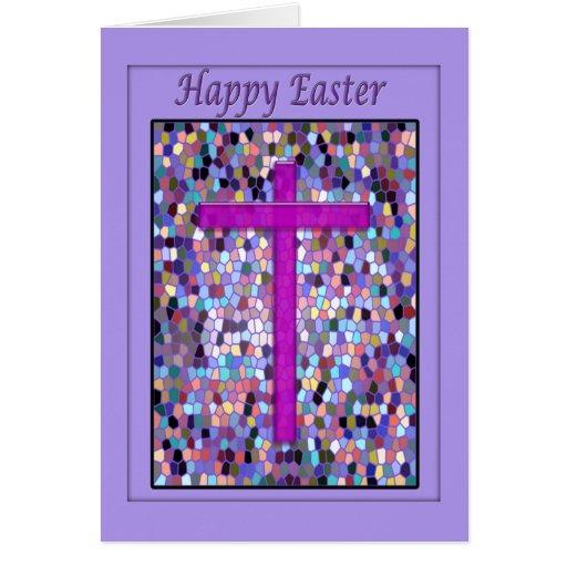 Tarjeta, vitral y cruz felices de pascua tarjeta de felicitación