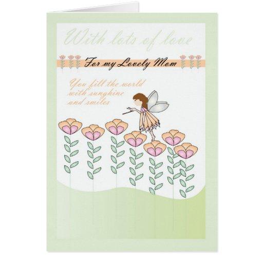 Tarjeta y flor de hadas lindas de la mamá del feli