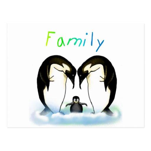 Tarjeta y postal de la familia del pingüino