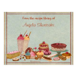 Tarjetas adaptables de la receta del postre tarjetas postales