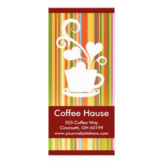 Tarjetas adaptables del estante de la cafetería diseño de tarjeta publicitaria