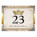 Tarjetas adornadas del número de la tabla del boda postal