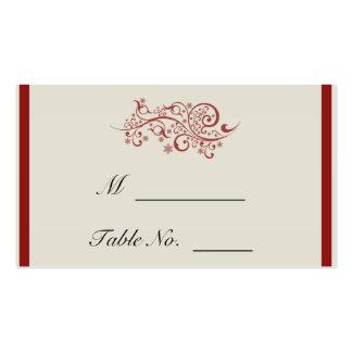 Tarjetas afiligranadas rojas y de marfil del lugar tarjetas de visita