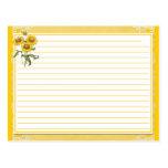 Tarjetas amarillas de la receta de los girasoles tarjeta postal