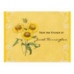 Tarjetas amarillas de la receta de los girasoles postal