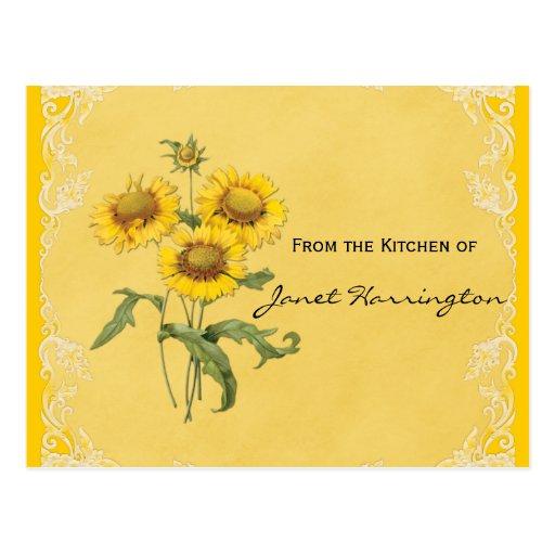 Tarjetas amarillas de la receta de los girasoles tarjetas postales