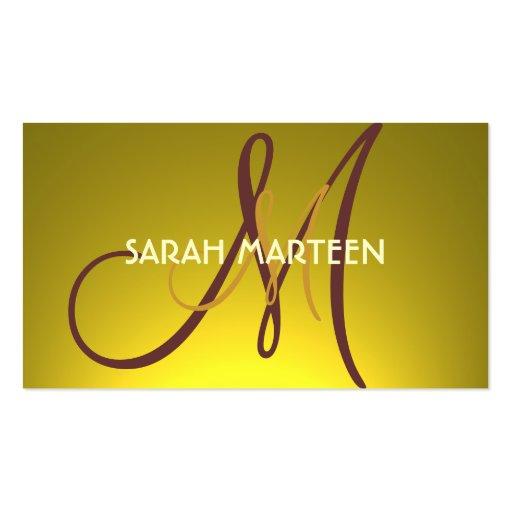 Tarjetas amarillas de oro de encargo simples del m tarjetas de visita