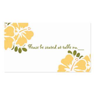 Tarjetas amarillas del lugar de la tabla del boda  tarjetas de visita