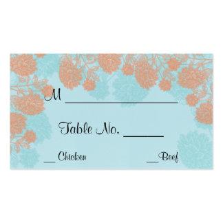 Tarjetas anaranjadas azules del lugar del boda del tarjetas de visita