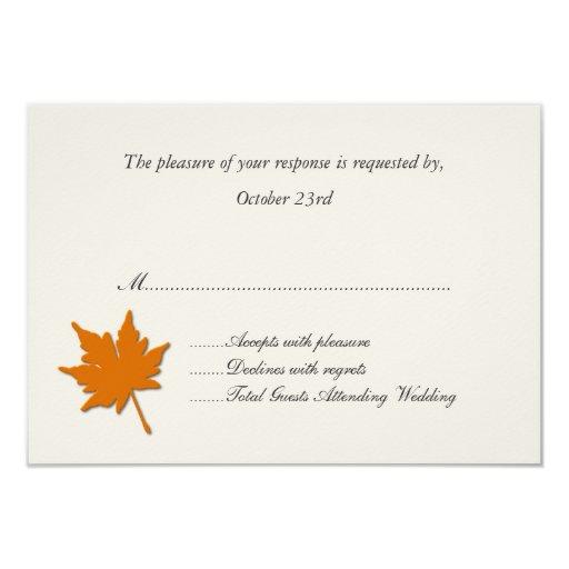 """Tarjetas anaranjadas de la respuesta del boda de invitación 3.5"""" x 5"""""""