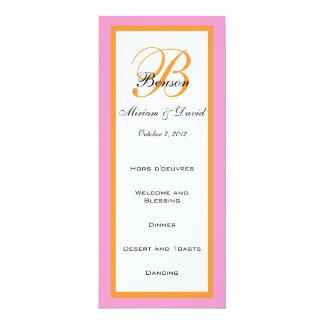 """Tarjetas anaranjadas rosadas del menú del boda invitación 4"""" x 9.25"""""""
