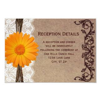 Tarjetas anaranjadas rústicas de la recepción invitaciones personales