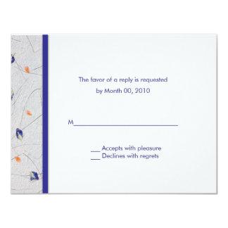 Tarjetas anaranjadas y azules de RSVP de los Invitación 10,8 X 13,9 Cm