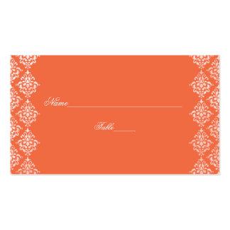Tarjetas anaranjadas y blancas del lugar del boda tarjetas de visita