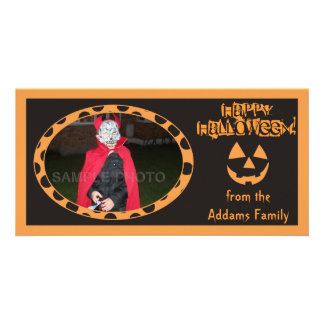 Tarjetas anaranjadas y negras de la foto de Hallow Tarjetas Fotograficas