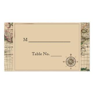 Tarjetas antiguas del lugar del boda del mapa de tarjeta de visita