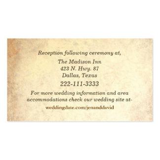Tarjetas antiguas del recinto del boda de la tarjetas de visita