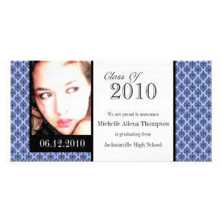 Tarjetas azules de la foto de la invitación de la tarjeta personal