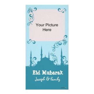 Tarjetas azules de la foto del remolino de Eid Tarjetas Personales