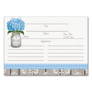 tarjetas azules de la receta del tarro de albañil