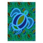 Tarjetas azules de la tortuga de mar
